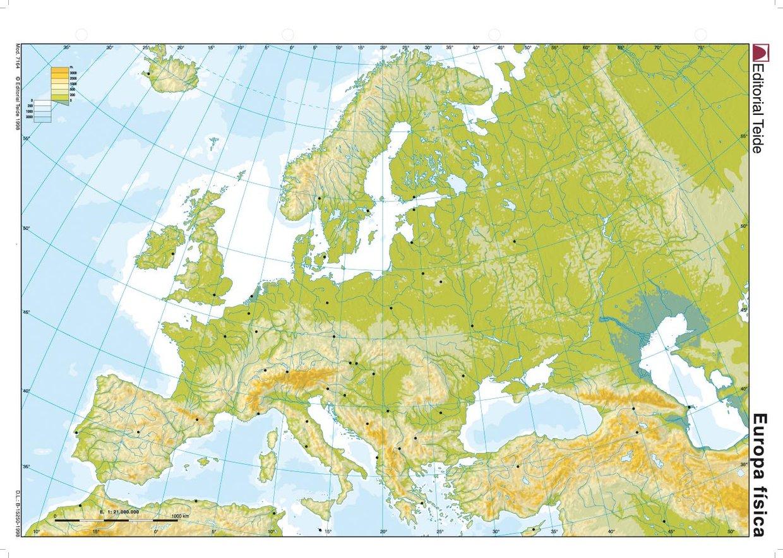 Rio Volga Mapa Fisico.Mapa Fisico Europa