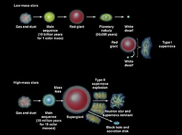 Lifecycle of Different Stars - ThingLink
