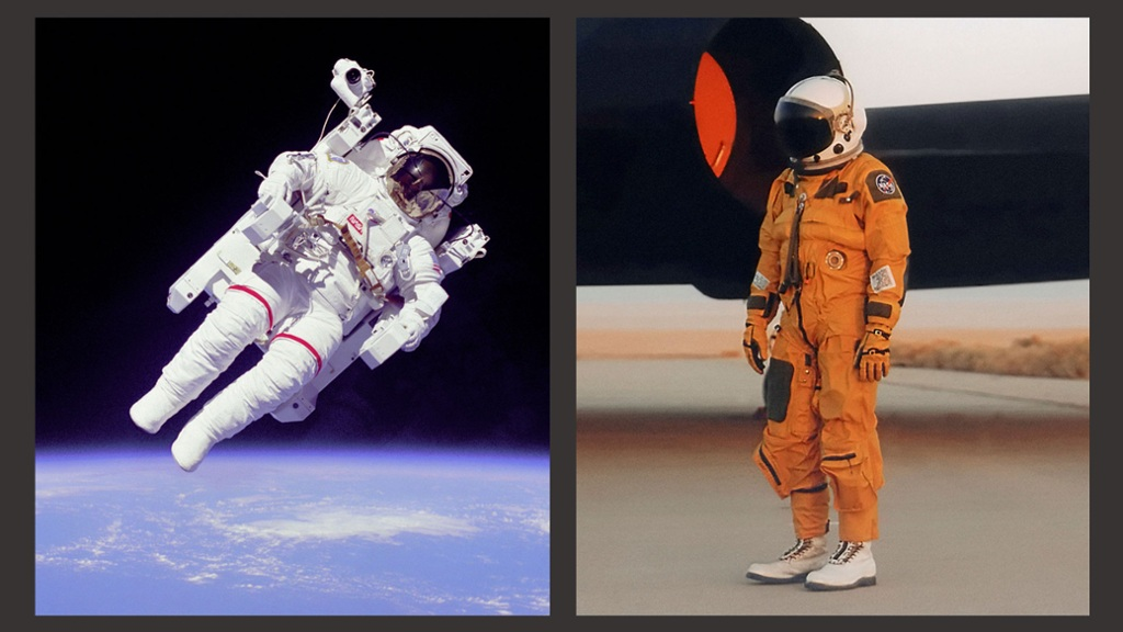 bbc future the difference between orange and white astronaut suits