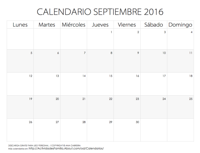 calendario septiembre 2016. Black Bedroom Furniture Sets. Home Design Ideas