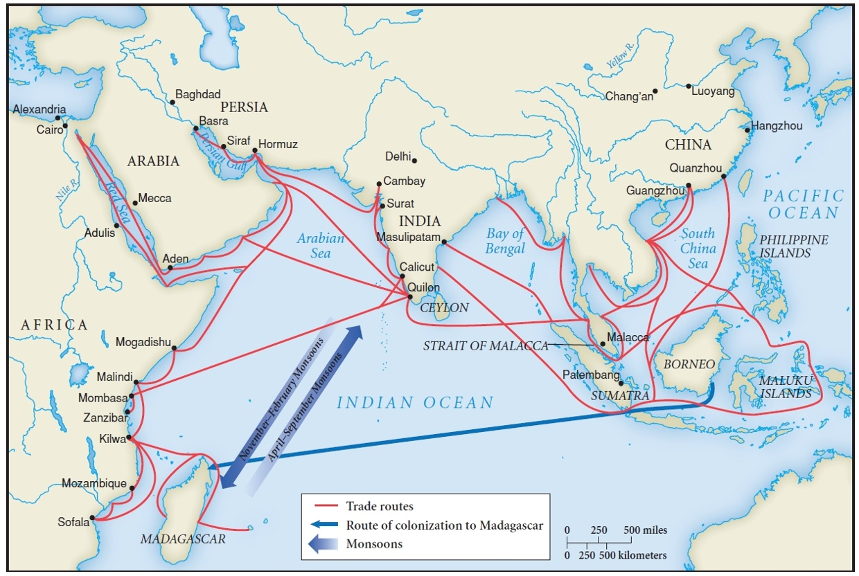 the history of the trade in the indian ocean route Start studying world history - trade routes learn vocabulary, terms  to do  trade with - some merchants began seeking alternate routes to the indian ocean.