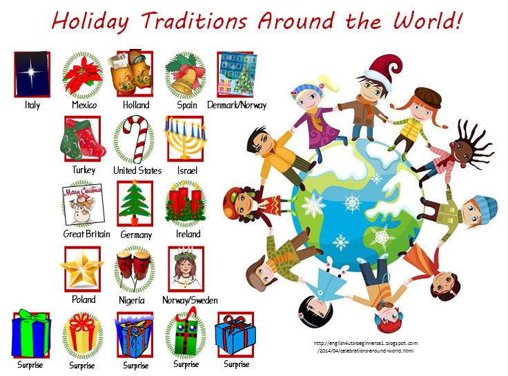 Holiday traditions around the world thinglink for Top 10 christmas traditions in america