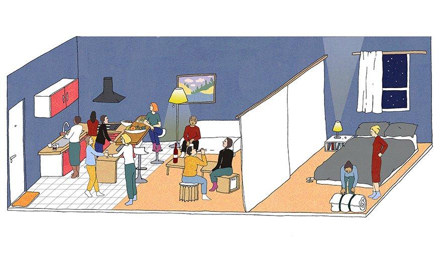 organiser une soir e dans un studio am nager un petit appart pour un max d invit s. Black Bedroom Furniture Sets. Home Design Ideas