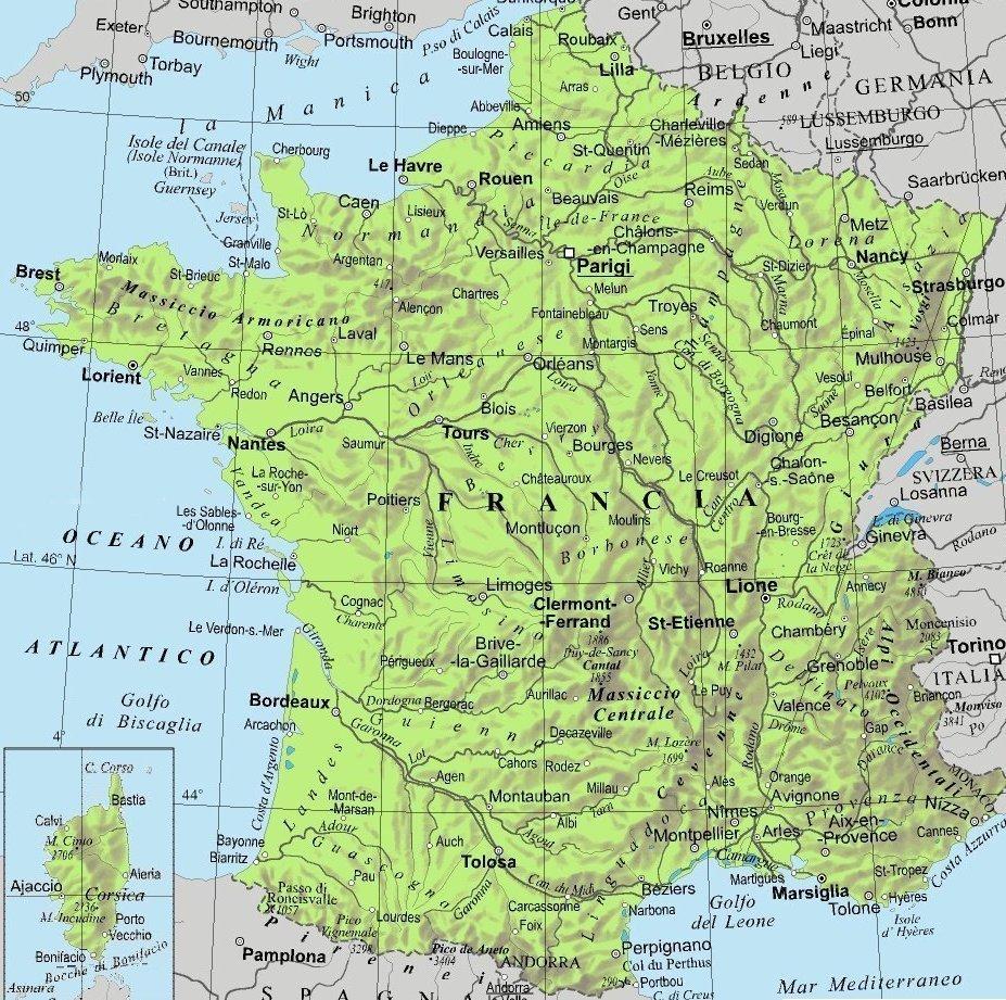 Nantes Cartina Francia.Cartina Francia