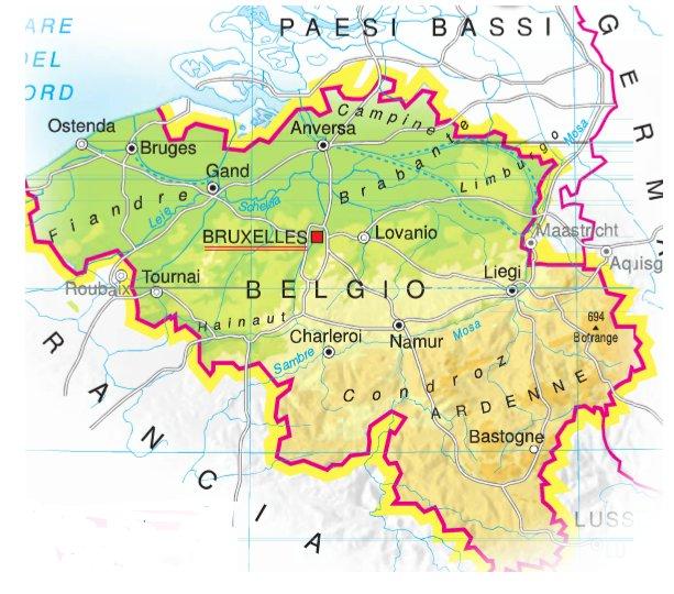 Cartina Del Belgio In Italiano.Cartina Del Belgio Di Somaschi