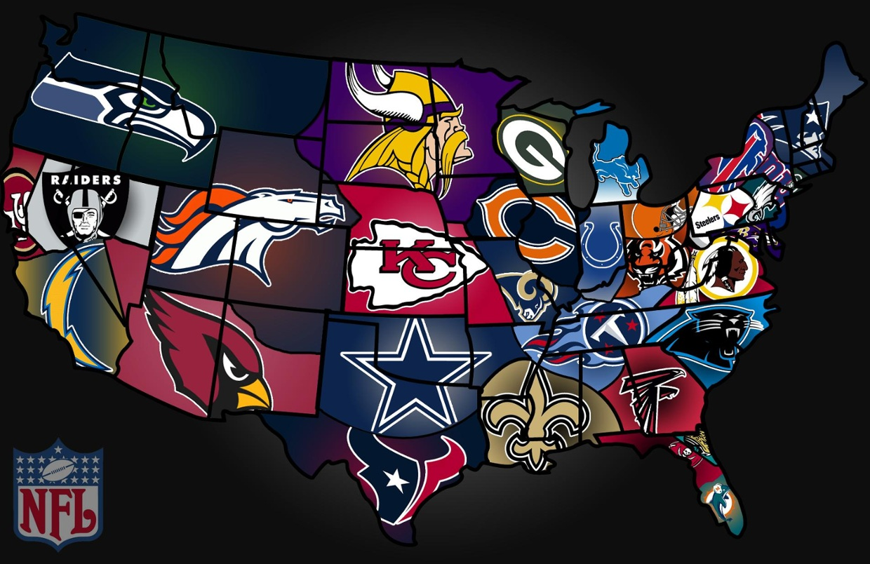 USA map of NFL teams