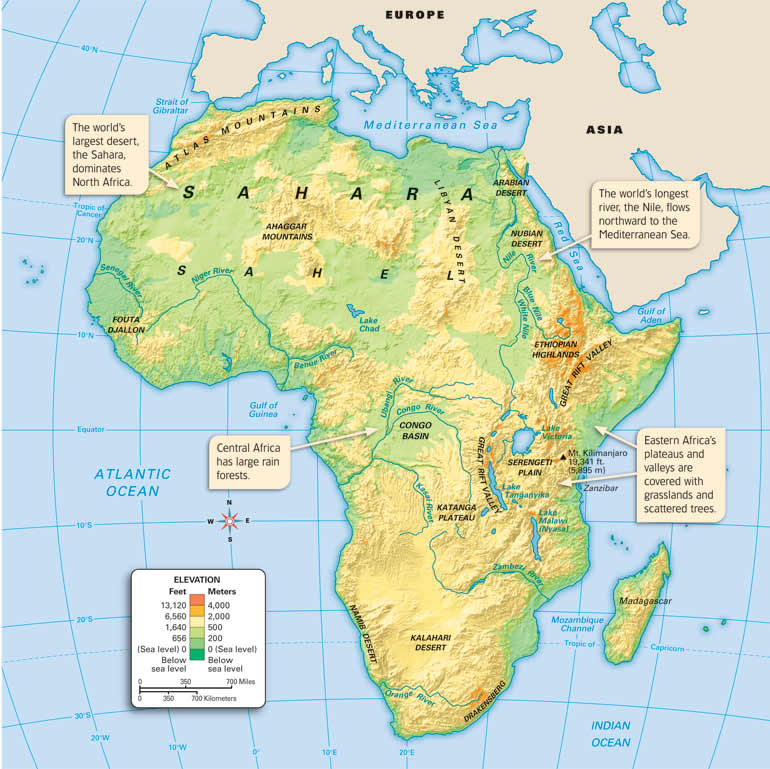 Map Of Africa Sahara Desert.Geography Map Of Africa