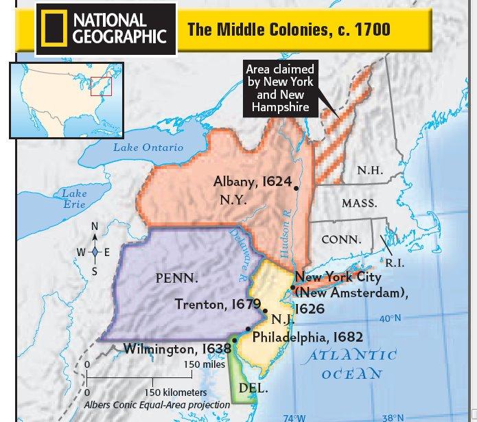 American Middle Atlantic Map - TravelQuaz.Com  Mid Atlantic Colonies Product Map
