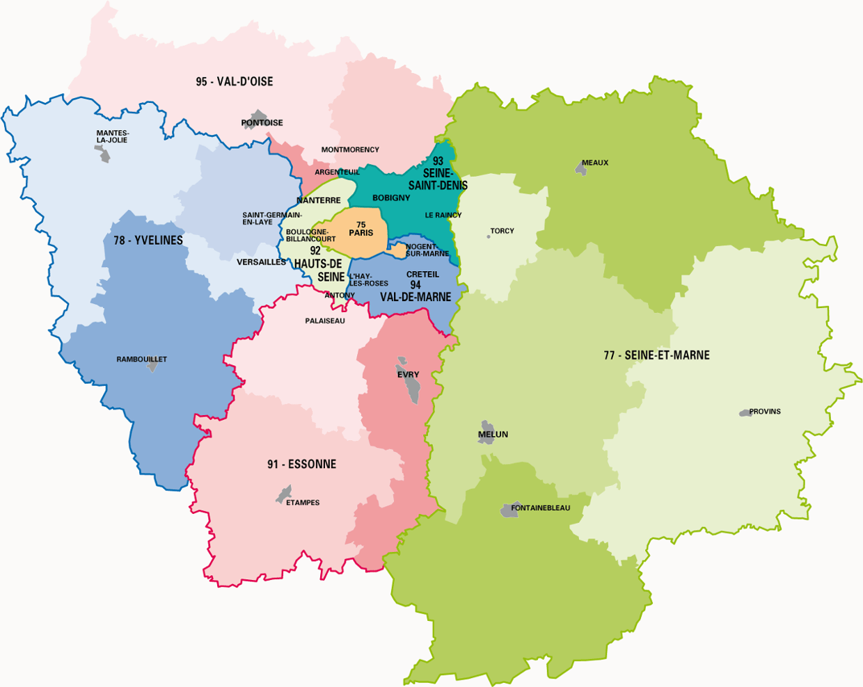 carte ile de france départements La carte des départements de la région Ile de France