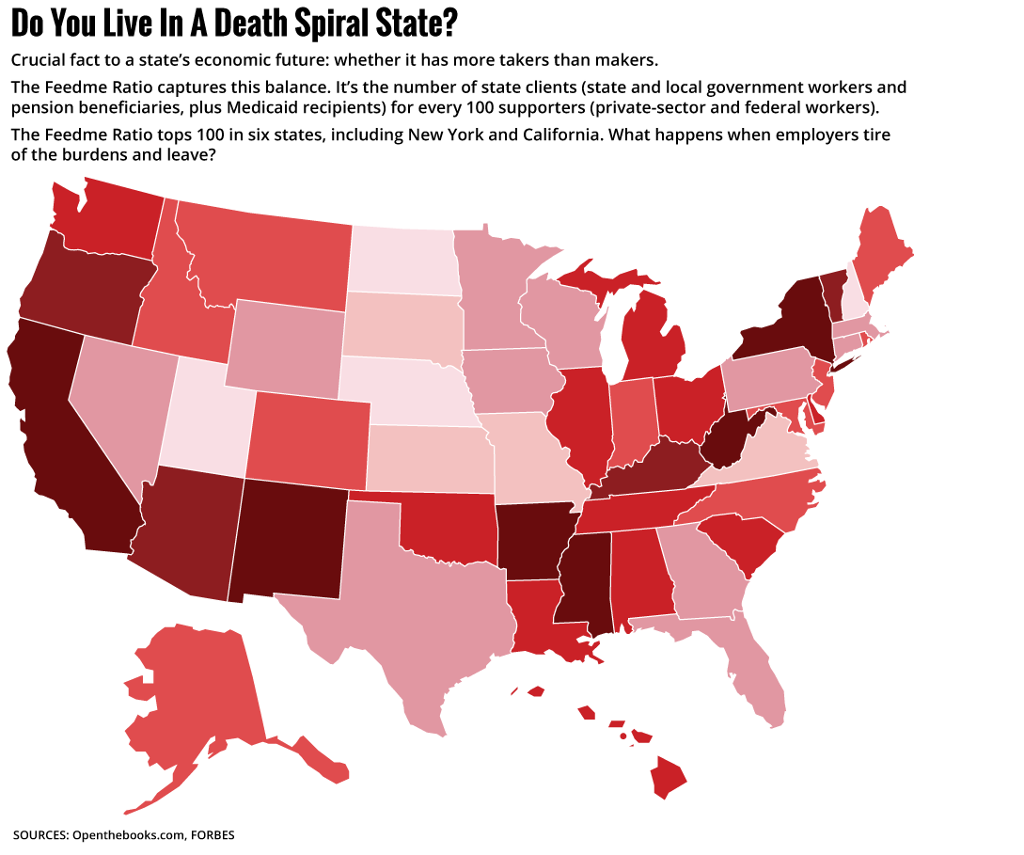 Which Are Death Spiral States - Us map of welfare recipients