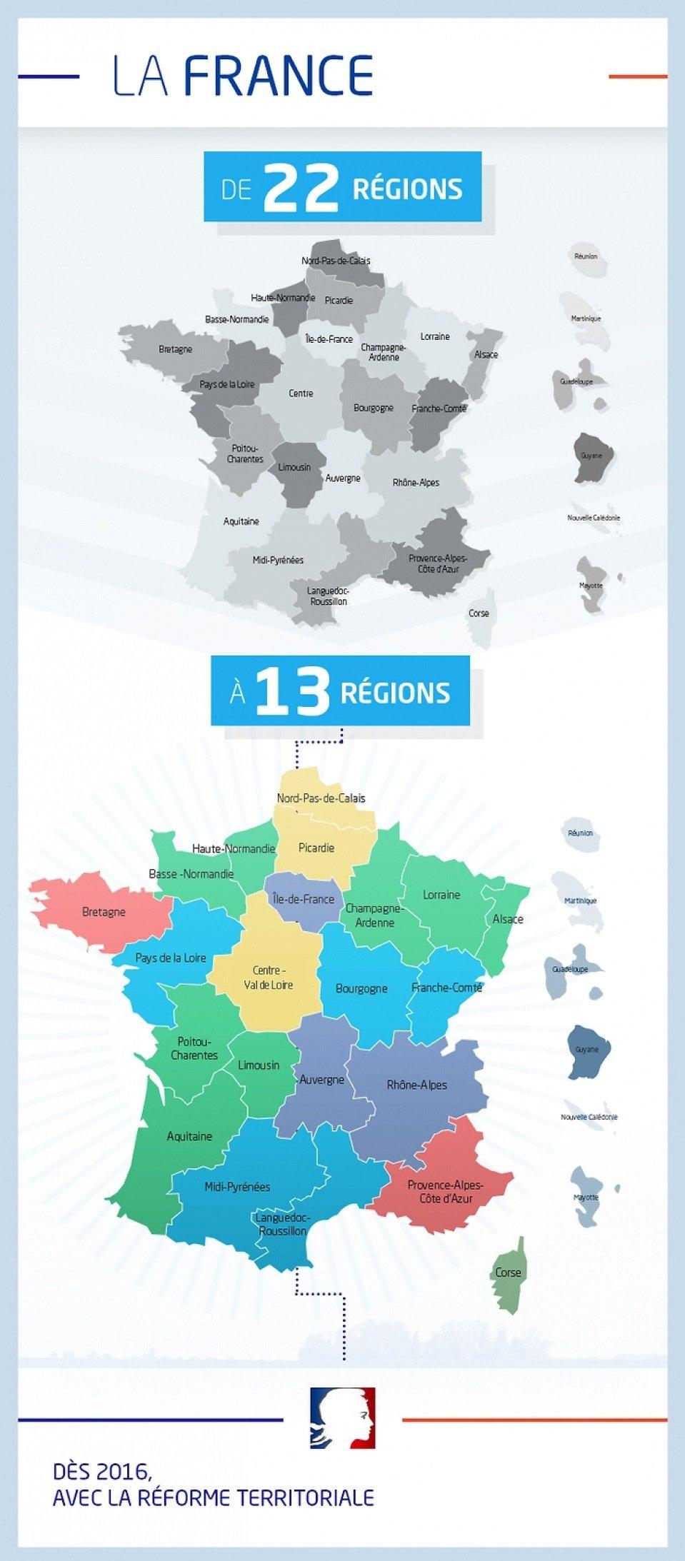La nouvelle carte de France: 13 régions à partir du 1-1-2016