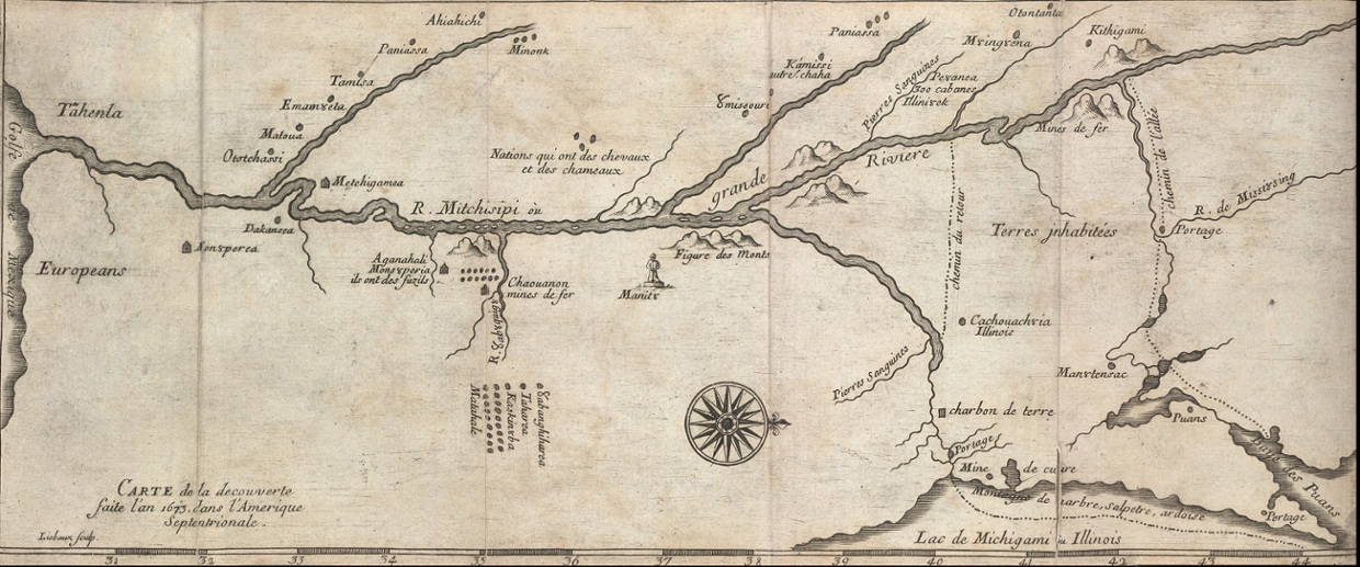 Marquette and Joliette map of the Mississippi ThingLink