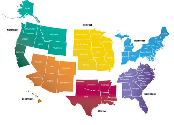 Us Map Separated By Region