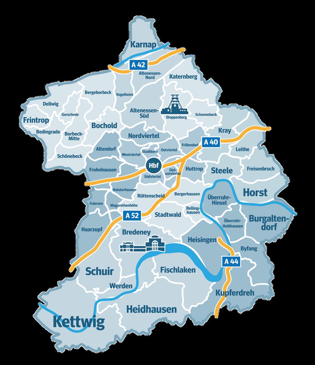 Herne Karte Stadtteile.Stadtkarten Von Essen Stadtteile Lieblingsorte Luftbilder