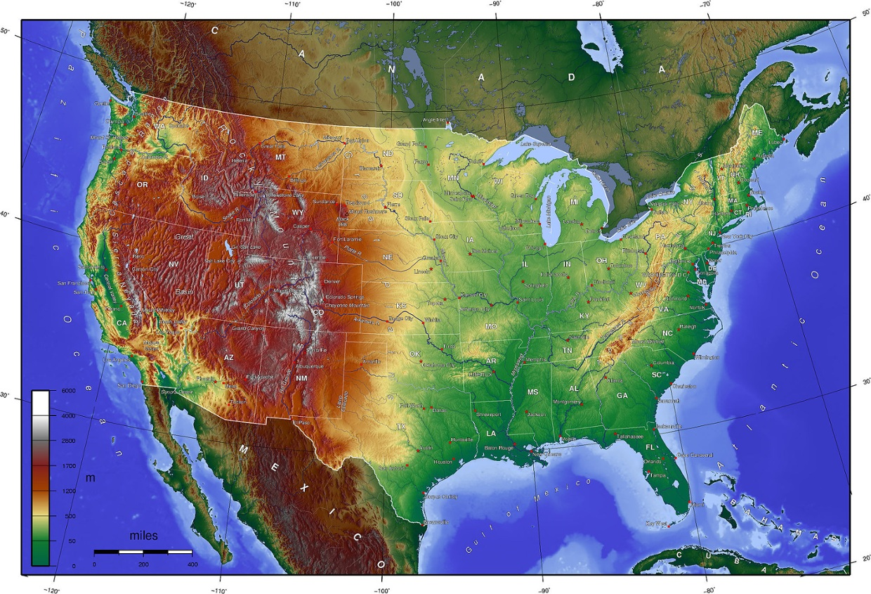 Us Physical Map With Rivers And Mountains Us Physical Map With - Map of us landforms