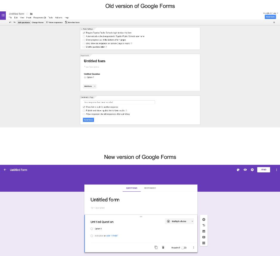 Google Forms - Old vs New