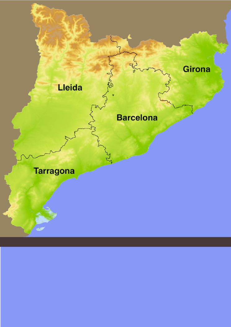 Location of the wild typical animals in Catalonia