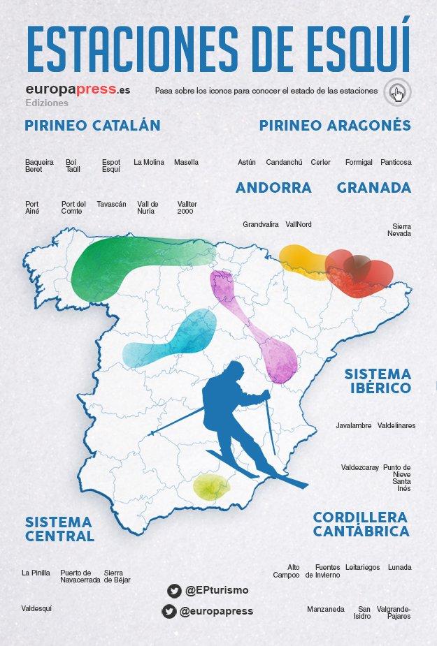 Mapa Estaciones Esqui España.Mapa De Las Estaciones De Esqui De Espana Estado De La Nieve
