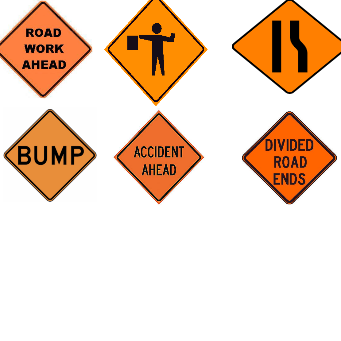 highway construction signs are what color