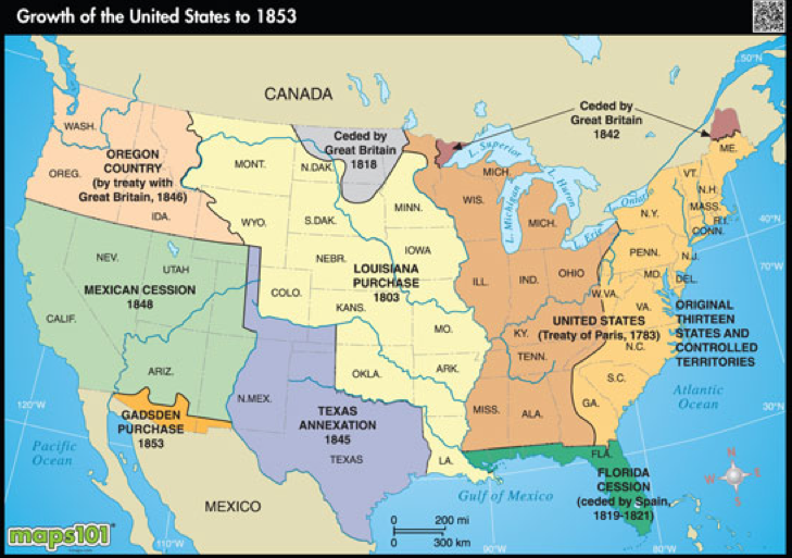 Western Expansion Map ThingLink - Map of us 1845