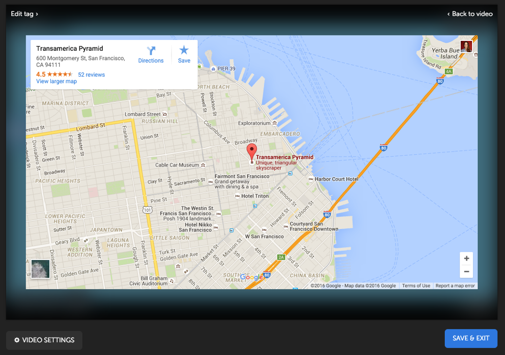 Embedding Maps in a Tag Video Creation ThingLink