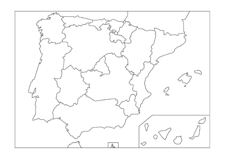 Mapa De Comunidades Autonomas De España Mudo.Mapa Mudo De Las Comunidades Autonomas