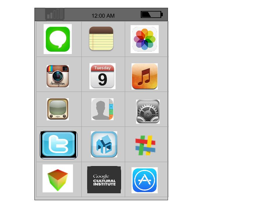 This shows a smartphone homescreen where many of the icons can be clicked on for further information.