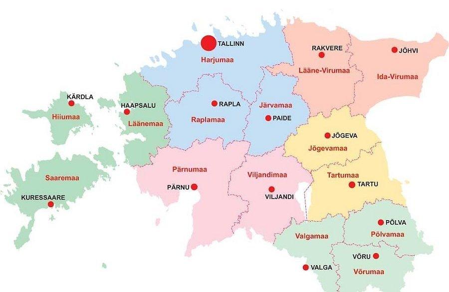 Eesti maakonnad ja keskused.