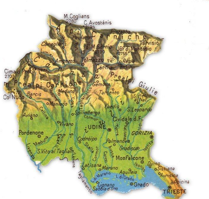 Cartina Fisico Politica Veneto.Cartina Fisica Friuli