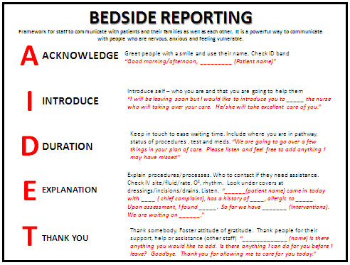 bedside shift report is the most essential part of shift