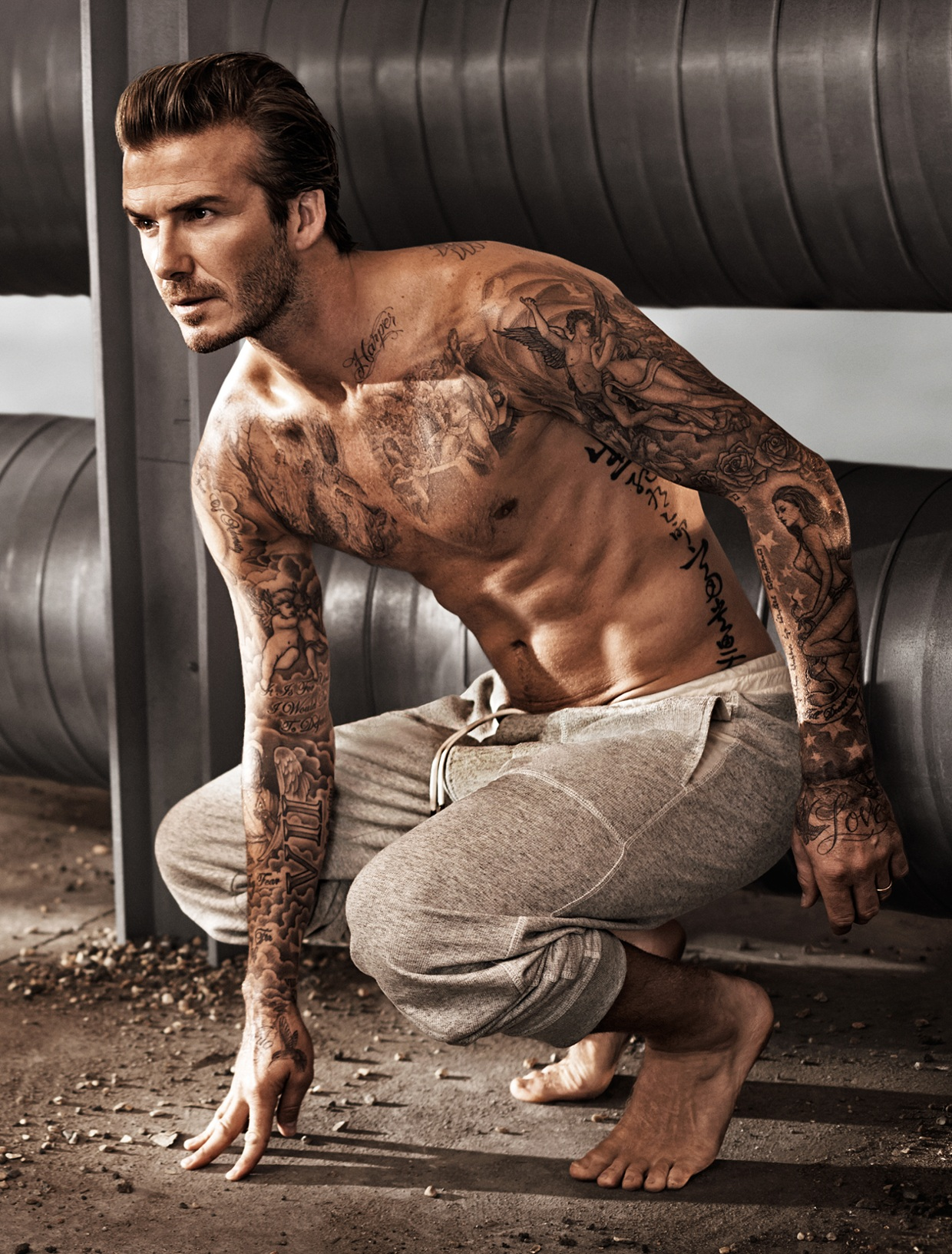 "Neck, left side: Beckham has the words ""Harper"" and ""Pret..."