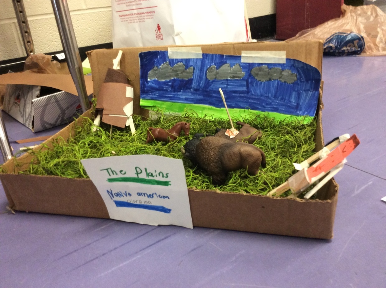 Zachary and Ryan's Great Plains tribe project (diorama)