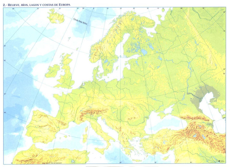 Mapa Fisic D Europa Rius.Accidents Geografics D Europa