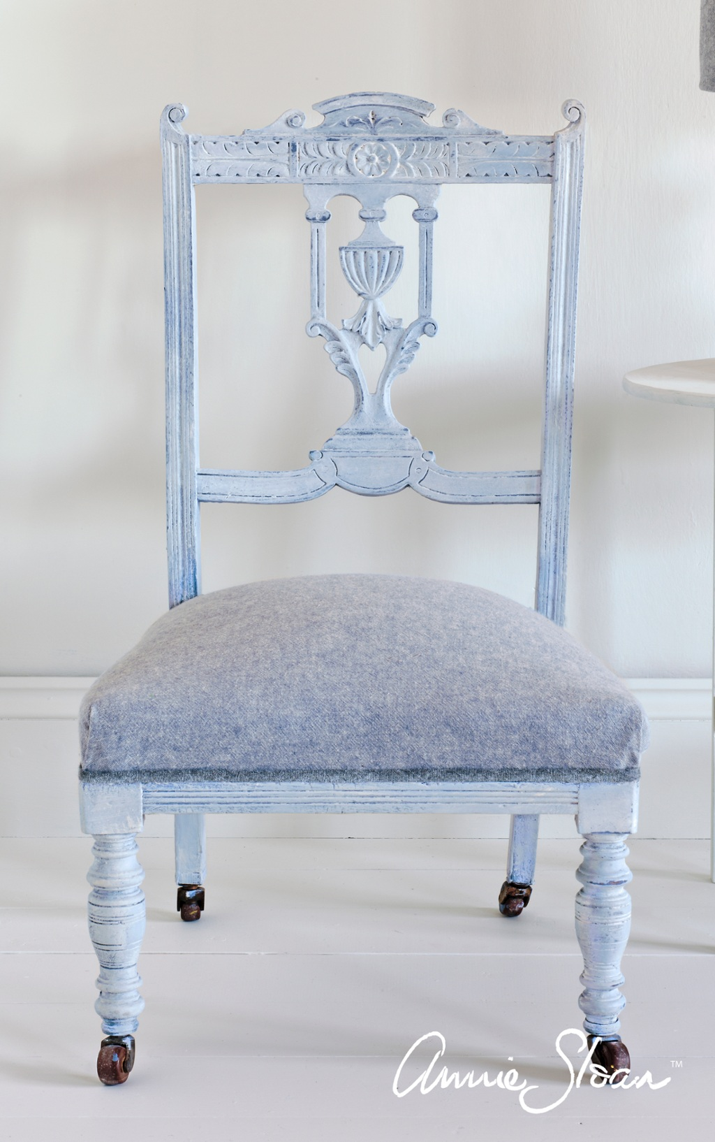 White Waxed Neoclassical Chair