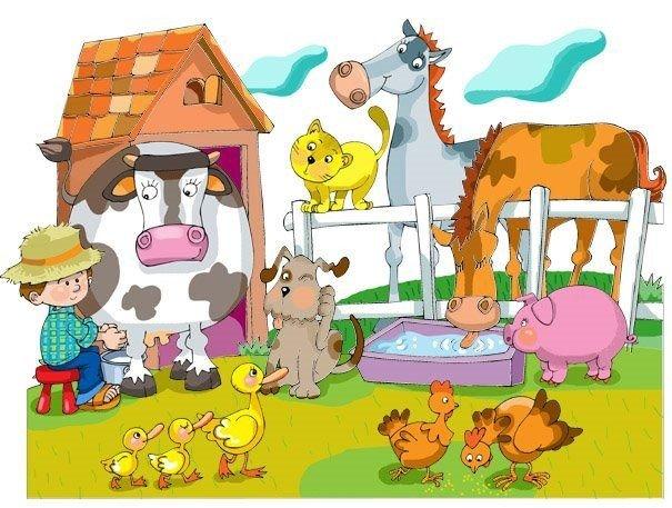El perro hace guau, guau..., La vaca hace muuuuu y nos da...