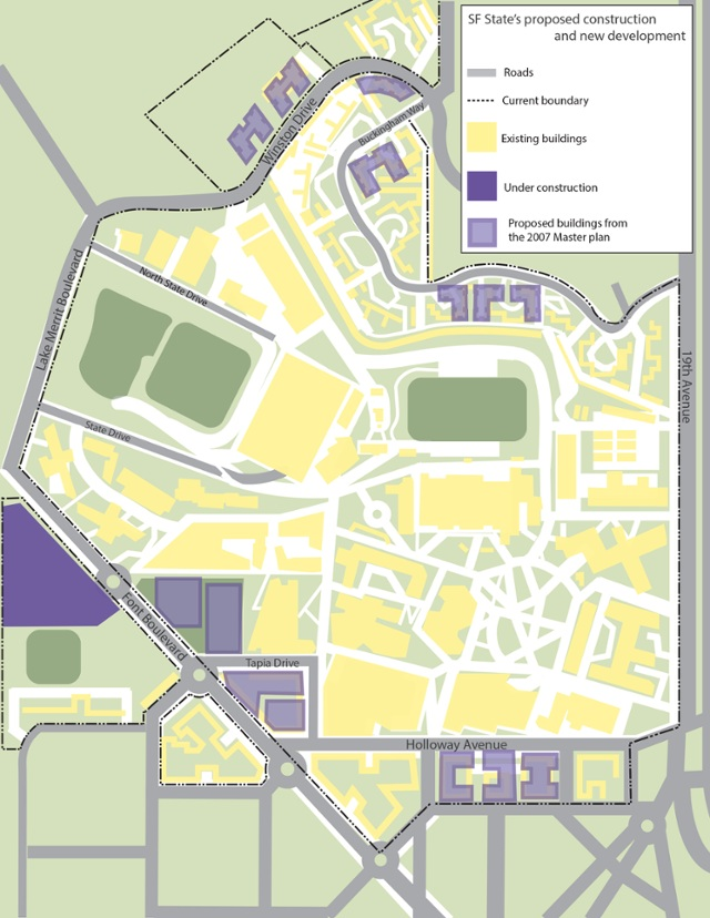 INTERACTIVE MAP: SF State to welcome new buildings for 2020 ... on sjsu map, ssu map, uw-l map, garden spot village campus map, london map, u of c map, minnesota moorhead state university campus map, usd map, southwest research institute campus map, george mason university campus map, columbus state university campus map, mississippi state university campus map, uop map, wtamu map, ball state university campus map, wcu map, murray state university campus map, the university of akron map, san diego state campus map, sonoma state university map,