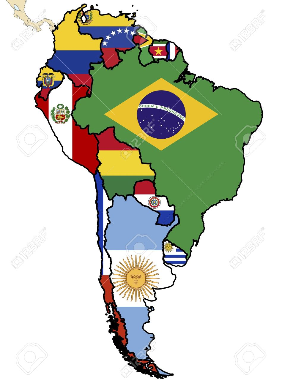 Music Throughout Latin America Composers And Singers ThingLink - South america map and flags