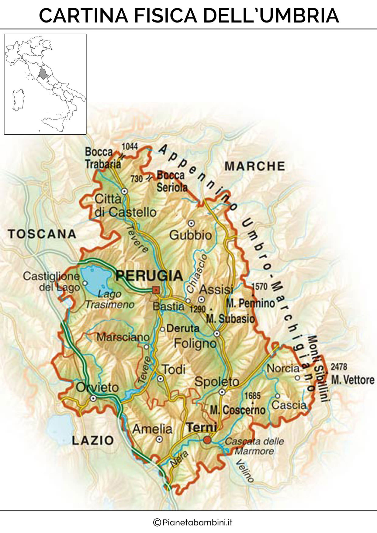 Cartina Geografica Italia Zone Collinari