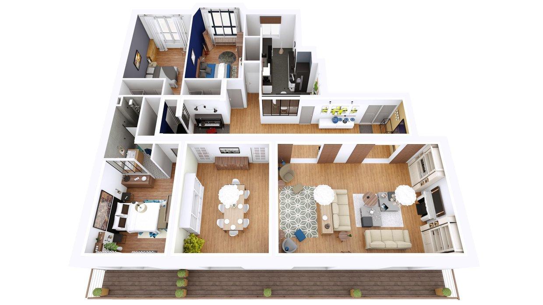 plan 3d appartement paris thinglink. Black Bedroom Furniture Sets. Home Design Ideas