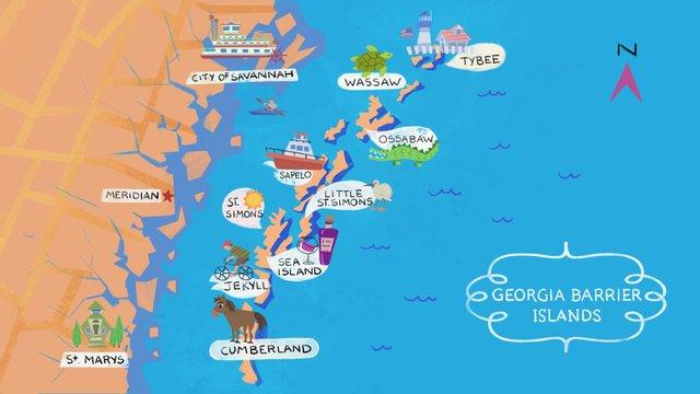 Map Of Georgia Barrier Islands.Discover Georgia S Barrier Islands