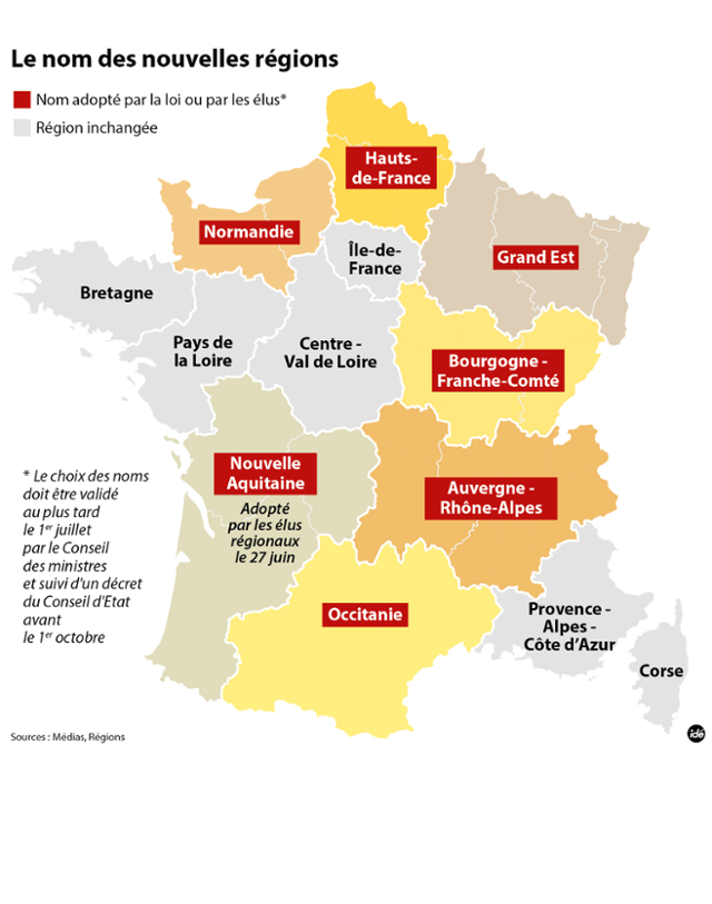 Noms des régions : la carte de France version 2016
