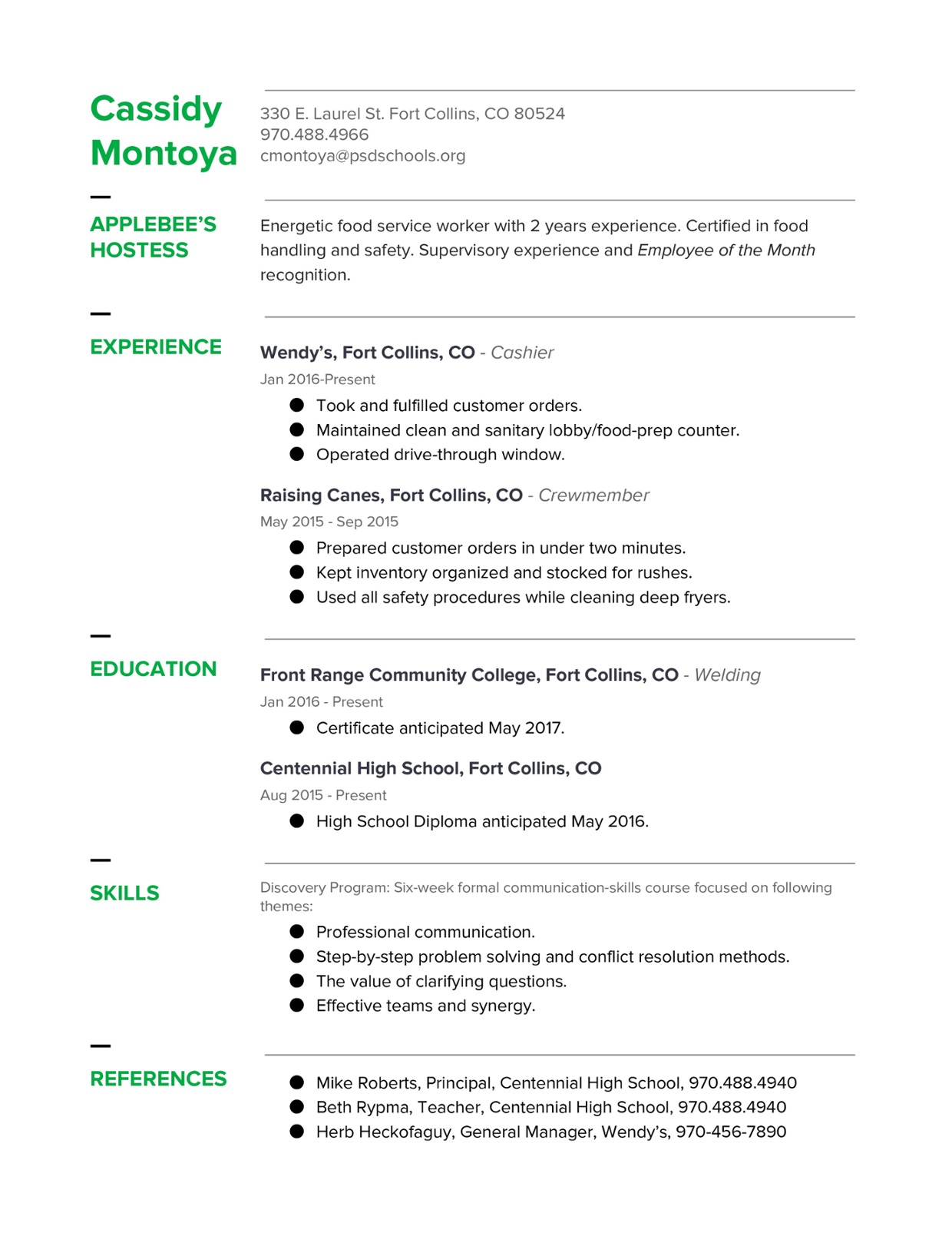 Chronological Resume Example Thinglink