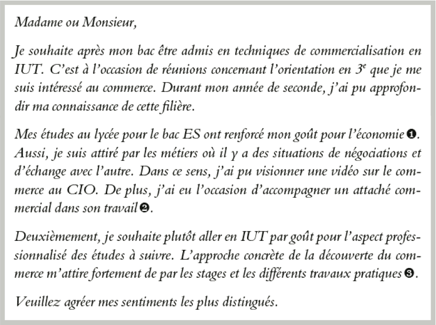 dut technique de commercialisation lettre de motivation Lettre de candidature en DUT techniques de commercialisation  dut technique de commercialisation lettre de motivation