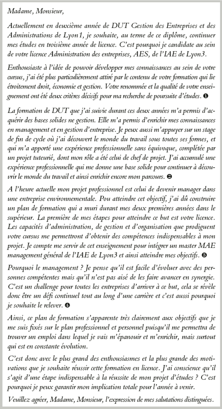 lettre de motivation aes Candidature en licence AES : une lettre de motivation contenant l  lettre de motivation aes