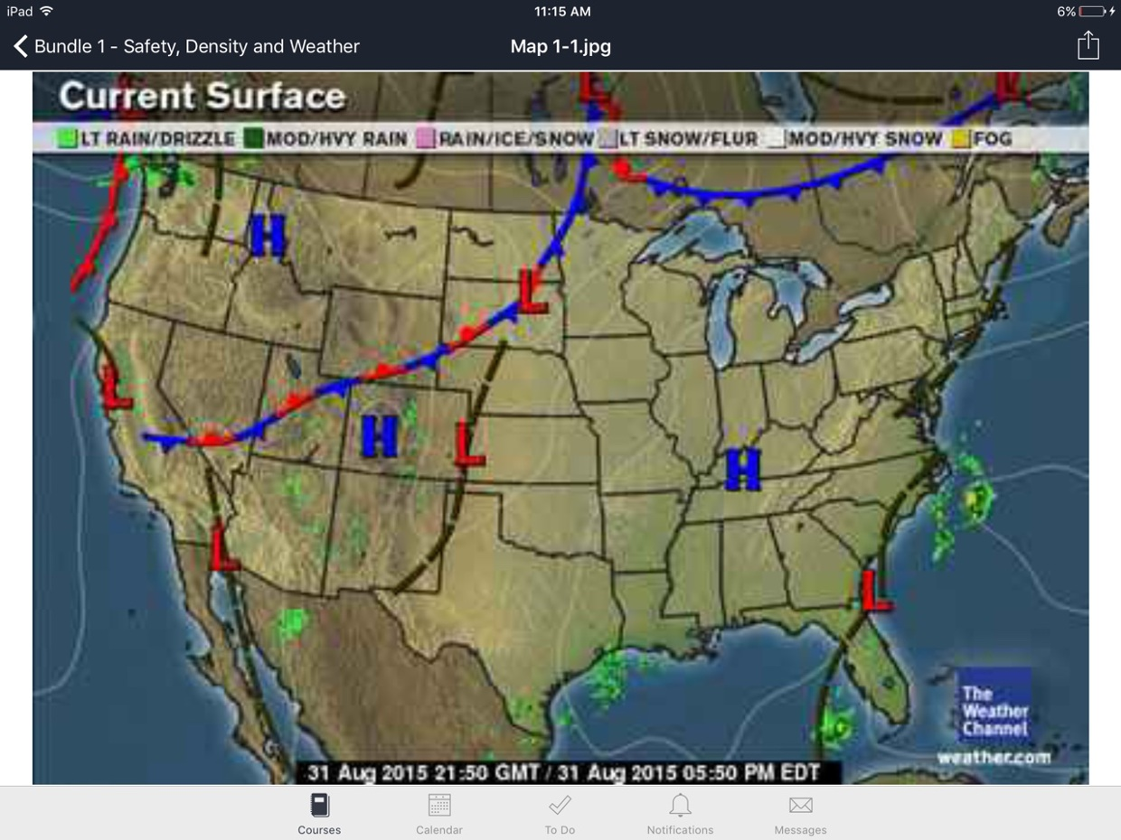 Stationary Front On A Weather Map.An Stationary Front Is Happening In The Middle Of The Map