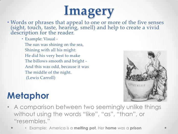 imagery in literature Picture this: imagery is a noun to describe the way things or ideas seem in your mind or in art or literature.