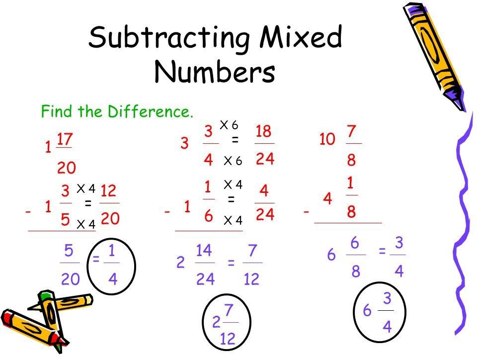 Subtracting Mixed Numbers Fractions Pre Algebra Kha