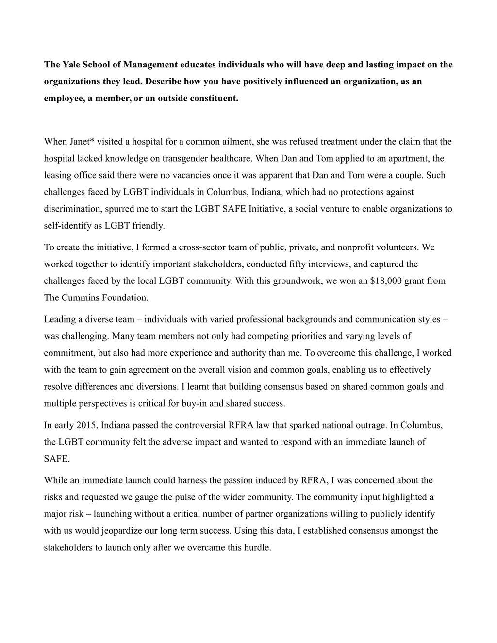 graduate school admissions essay examples