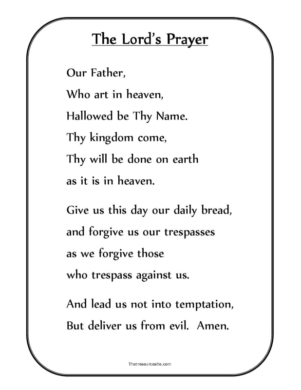 It's just a picture of Gorgeous Free Printable Lord's Prayer