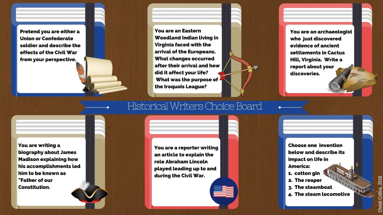 Historical Writers Choice Board